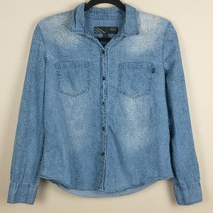 Van long sleeve button up spotted blue top M